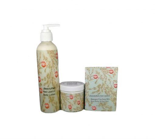 red lipstick soap butter and lotion